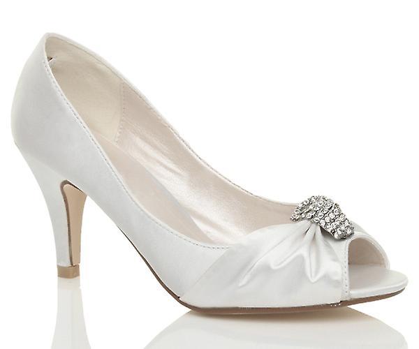 Ajvani womens sposa sera raso nuziale gattino basso tacco peep toe scarpe sandali