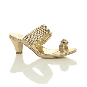 Ajvani womens platform low mid heel peep toe toe post party diamante sandals mule shoes