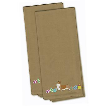 Corgi Easter Tan Embroidered Kitchen Towel Set of 2