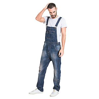 USKEES Mens Relaxed Fit Garage Wash Dungarees Quality Denim Bib Overalls