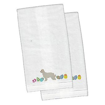 Great Pyrenees Easter White Embroidered Plush Hand Towel Set of 2