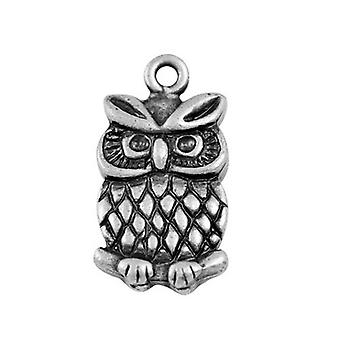 Packet 10 x Antique Silver Tibetan 20mm Owl Charm/Pendant ZX01210