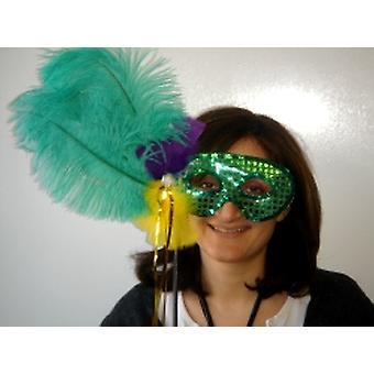 Gefiederte grün und Pailletten-Maske auf einem Stock (1)