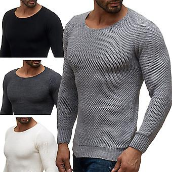 Men's Long Sleeved Sweat Shirt Pullover Longsleeve Strick Autumn Winter Uncoloured