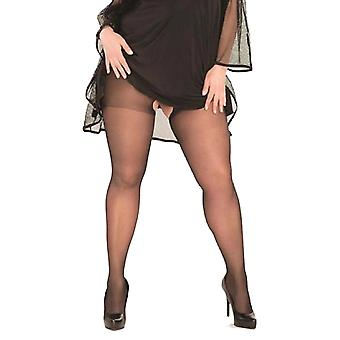 Womens Sexy Plus Size Black Sheer Crotchless Pantyhose Hosiery Stockings Tights