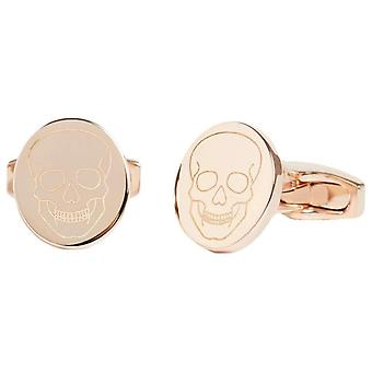 Simon Carter Laser Engraved Skull Cufflinks - Rose Gold