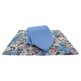 Michelsons of London Plain Tie and Contrast Floral Pocket Square Set - Light Blue