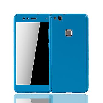 Huawei P10 Lite mobile phone shell protection case full-cover protection glass light blue tank