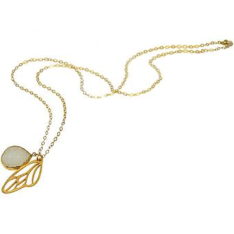 Ladies - necklace - pendant - butterfly - wings - WINGS - 925 Silver - gold plated-- DRUZY - white - quartz - 80 cm