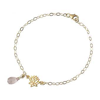 Cuarzo rosa - gotas - Rosa - YOGA mujer - Pulsera - plata 925 - oro - flor de loto-