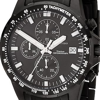 JOBO men's wristwatch quartz chronograph titanium black mens watch with date