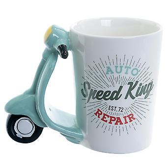 Scooter hvid Cup hastighed konge, håndmalede, 100% keramiske, kapacitet ca. 470 ml...