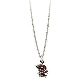 Ti2 Titan kaos släppa hänge och Silver Halsband - Mulberry brun