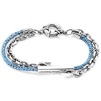 Anchor and Crew Belfast Silver and Rope Bracelet - Blue Noir