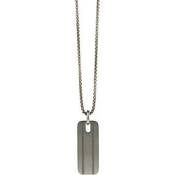 Ti2 Titanium Fischgrat Muster Anhänger - Silber