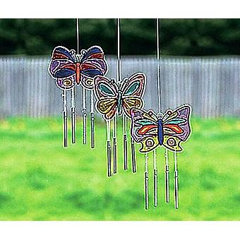 12 Butterfly Plastic Suncatcher Wind Chime Crafts | Kids Insect & Bug Crafts