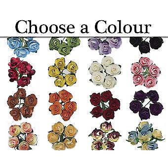 144 15mm Small Paper Tea Rose Flowers for Floristry Crafts