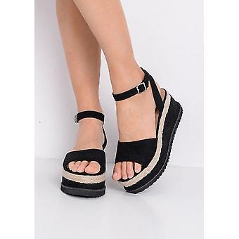 Espadriller Flatform kil Faux mocka sandaler svart