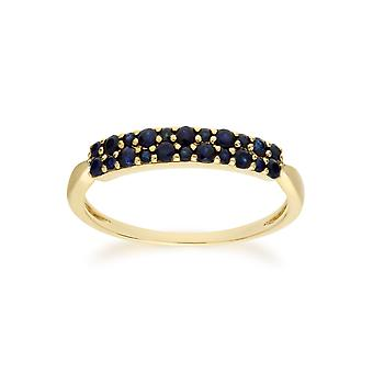 Gemondo 9ct Yellow Gold Sapphire Cluster Panel Ring
