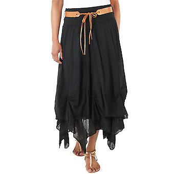 KRISP  Womens Belted Maxi Skirt Boho Gypsy Tiered Asymmetric Hitched Long