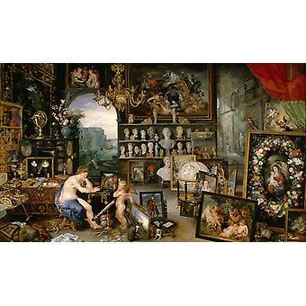 Allegorie van gezicht, Jan Brueghel, 40x60cm met lade