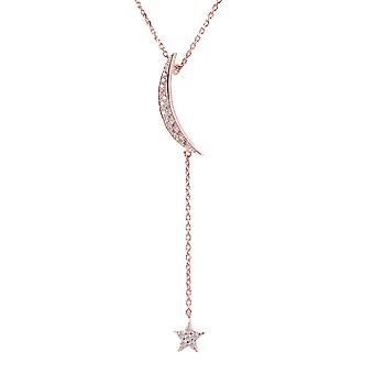 Latelita Pendant Necklace Moon Star Rose Pink Gold Sterling Silver 925 Crescent