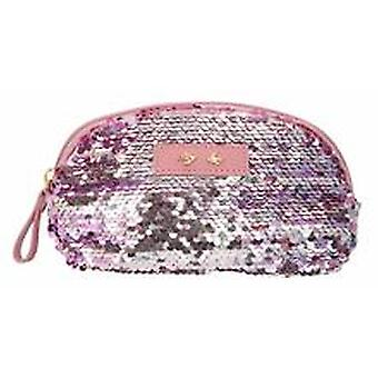 Depesche 10358 Cosmetic Bag With Sequins Trend Love Mauve