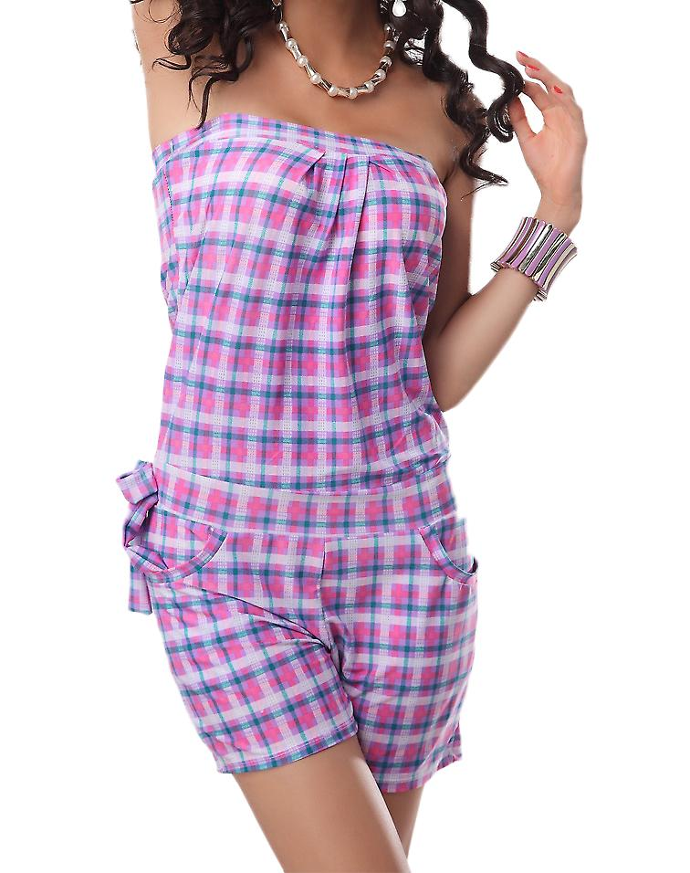 Waooh - Fashion - plaid strapless playsuit