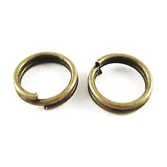 Paquete 150 + antiguo bronce plateado del hierro redondo Split anillos 0.7 x 10mm HA11880