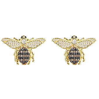 Latelita Stud Earrings Honey Queen Bee CZ Gold  Yellow 925 Silver Small Jewellery