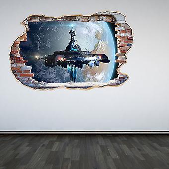 Полноцветный пришельцев разбил стены стикер стены 3D-эффект