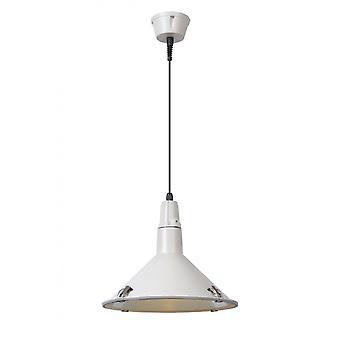 Lucide Tonga Industrial Round Aluminum White Pendant Light