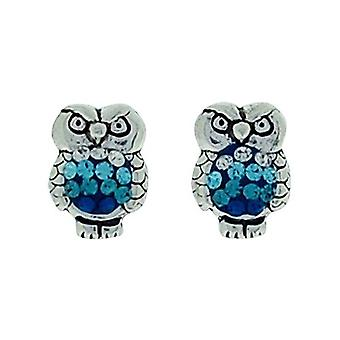 TOC Girls Sterling Silver Blue Crystal Set Owl Stud Earrings