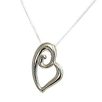 TOC Sterling Silver Abstract Heart Pendant Necklace 18