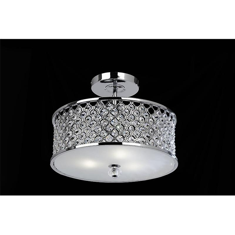 3 Light Ceiling Fitting In Chrome With Crystal Beads & Glass Diffuser