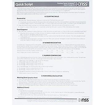 Nummer zin Screener (Nss) snelle Script, K-1, onderzoek Edition