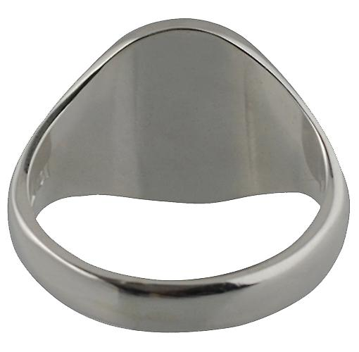 Platinum 950 16x14mm solid plain oval Signet Ring Size U
