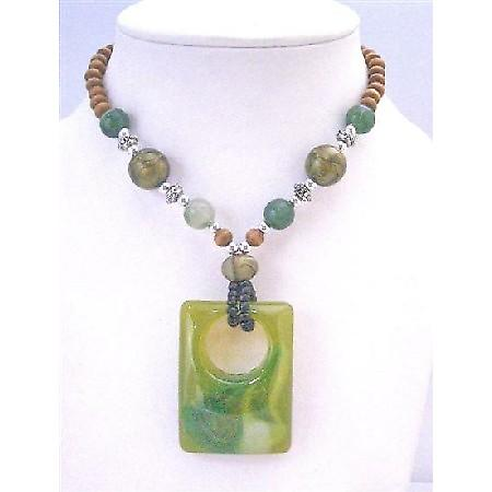 Vintage Square Pendant Fashionable Green Jade Square Pendant Necklace