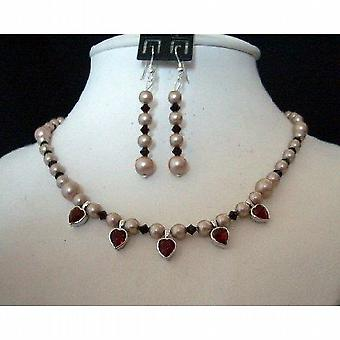 Swarovski Rose Pearls Garnet Crystals Small Heart Pendant Necklace Set