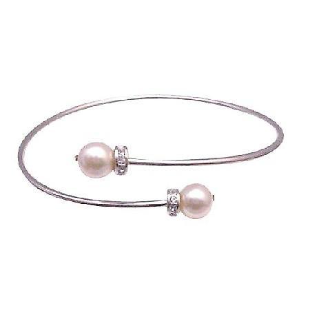 Bridal Cuff Bracelet Ivory Swarovski Pearls Gold Pearls Wrist Bracelet