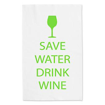 Save Water Drink Wine White Tea Towel Green Text