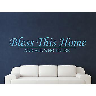 Bless This Home Wall Art Sticker - Arctic Blue