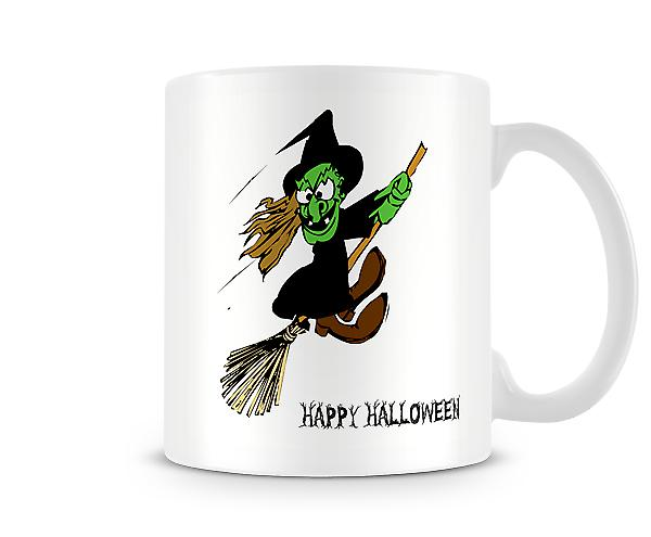 Decorative Writing Happy Halloween Witch On Broom Printed Text Mug