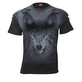 Spiral Shadow Wolf Distressed Spray On T-Shirt S