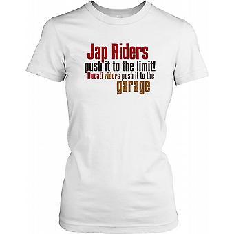 JAP renners duwen het aan de grens... - grappige grap dames T Shirt