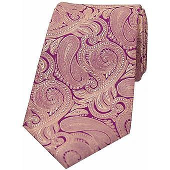 David Van Hagen Luxury Paisley Silk Tie - Purple/Fuchsia
