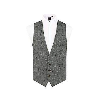 Harris Tweed Black & Grey Herringbone Waistcoat Regular Fit 100% Wool Low Cut