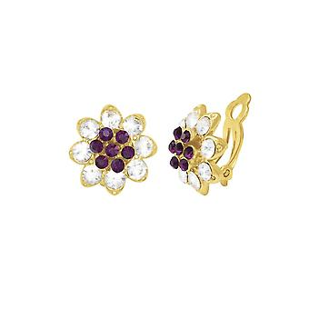 f3100a5cb Eternal Collection Bellini Amethyst & Clear Crystal Gold Tone Stud Clip On  Earrings