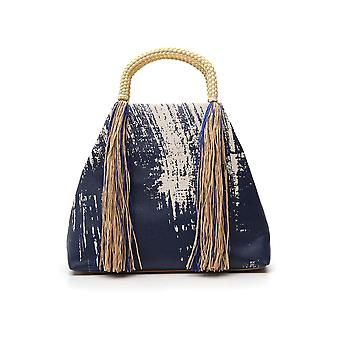 Issey Miyake Blue Cotton Shoulder Bag