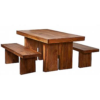 Nantes Solid Sheesham 170Cm Dining Table  Set With 2 Wooden Benches